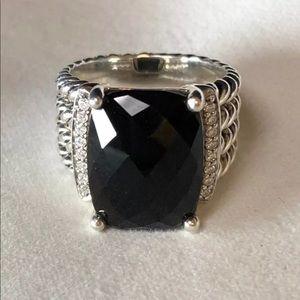 DY 16x12mm Black Onyx &Diamond Wheaton Ring Sz 7